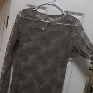 Stretch lace long sleeve top